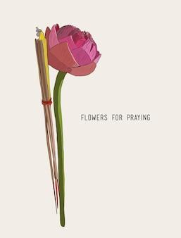 Lotus räucherstäbchen und kerzen eingestellt