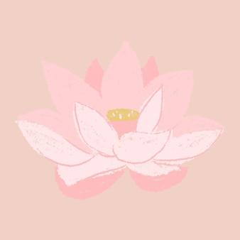Lotus rosa blumenaufkleber handgezeichnete illustration