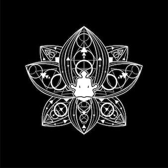 Lotus yoga logo vorlage weißer umriss auf schwarzem hintergrund. weibliche silhouette in der zen-meditations-vektor-illustration. branding-element für salons oder fitnessstudios