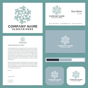 Lotusblüten-mandala lebenssamen und visitenkarten-premium