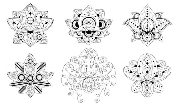 Lotusblume mit geometrischen verzierungslinearabbildungen gesetzt