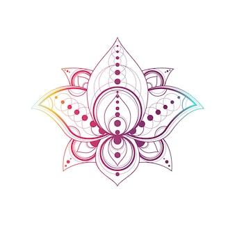 Lotusblume mit linearer illustration des geometrischen mustervektors. orientalisches blumenverlaufssymbol