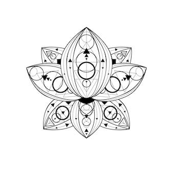 Lotusblume mit linearer illustration des geometrischen verzierungsvektors. indisches heiliges umrisssymbol