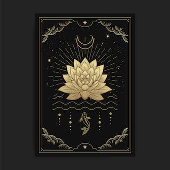 Lotusblumen, die auf dem wasser blühen, verziert mit dem mond und dem fisch, kartenillustration mit esoterischen, boho, spirituellen, geometrischen, astrologischen, magischen themen, für tarotleserkarte