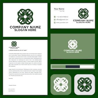 Lotusblumen-mandala und visitenkarten-premium