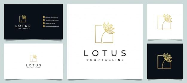 Lotusblumenlogo-design-linienkunststil mit visitenkarte