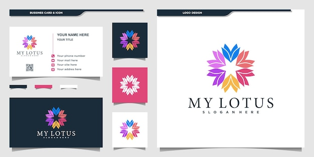Lotusblumenlogo mit buntem stil und visitenkartendesign premium-vektor