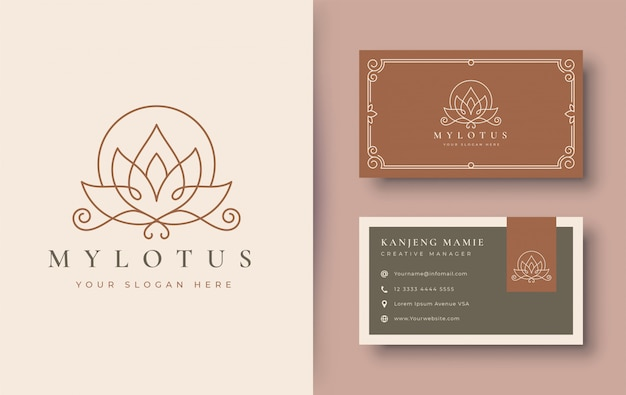 Lotusblumenlogo und visitenkartenentwurf
