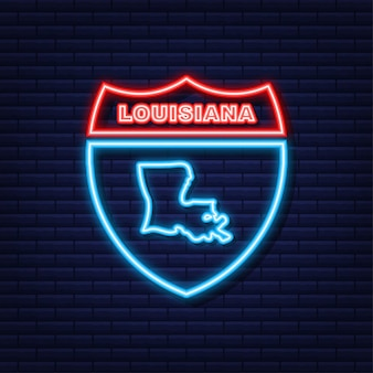 Louisiana state map umriss neon symbol. vektor-illustration.