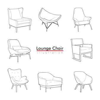 Lounge chair einfaches set