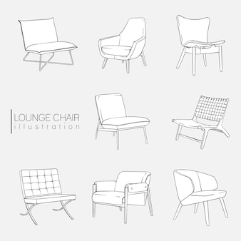 Lounge chair illustration set