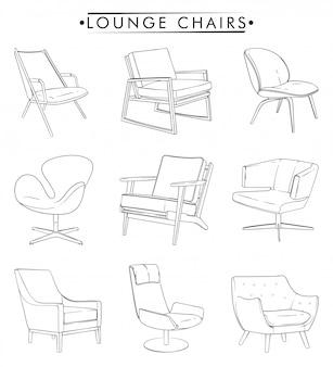 Lounge chairs umrisszeichnung