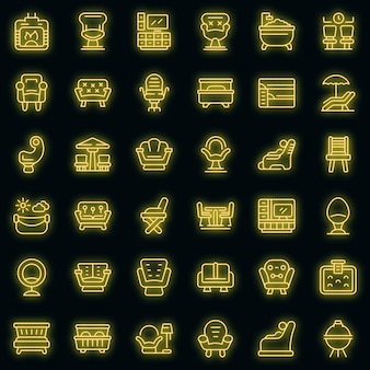 Lounge icons set vektor neon