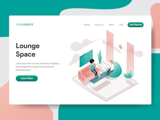 Lounge space isometric für website page