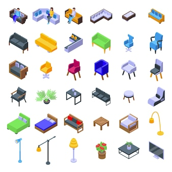 Lounge-symbole gesetzt. isometrischer satz von lounge-vektorsymbolen für webdesign isoliert auf weißem hintergrund