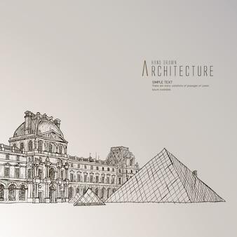 Louvre museum hand gezeichnet
