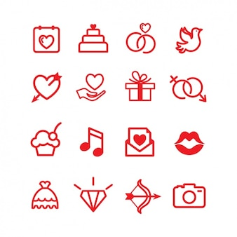 Love icons sammlung
