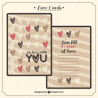Love-karte mit doodle herzen