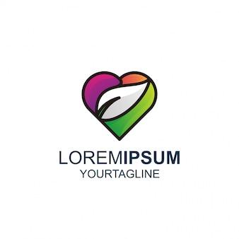 Love leaf line und color awesome inspiration logo