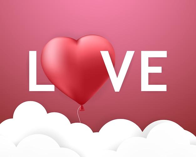 Love-schriftart, valentinstag-herz-ballon