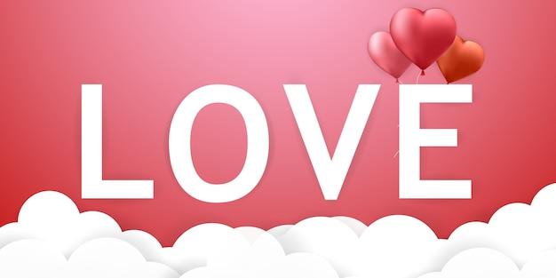 Love-schriftart, valentinstag-herz-ballons