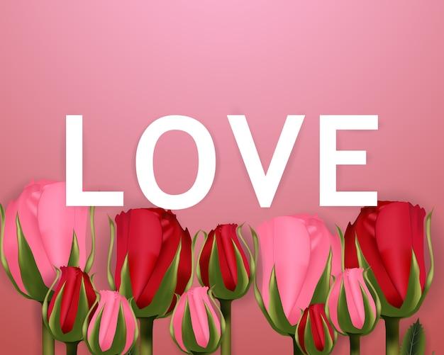 Love-schriftart, valentinstag und rosen