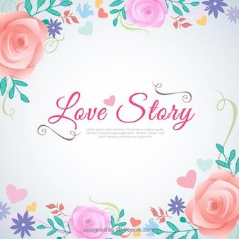 Love story hintergrund in blumigen stil