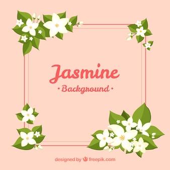 Lovely jasmin hintergrund mit rahmen