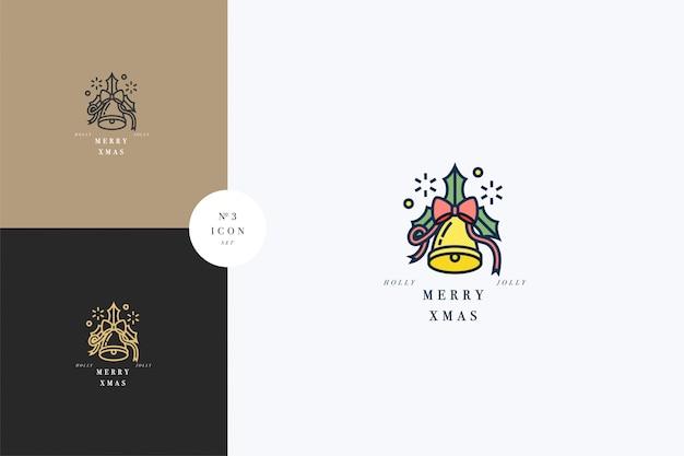 Lovely merry xmas konzept linear mit weihnachtsglocke. gruß typografie kompositionen weihnachtskarten, banner