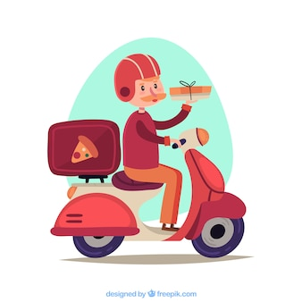 Lovely pizza delivery man auf scooter