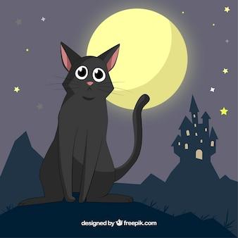Lovely schwarze katze und spuk haus Kostenlosen Vektoren