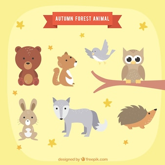 Lovely set von herbstlichen tieren
