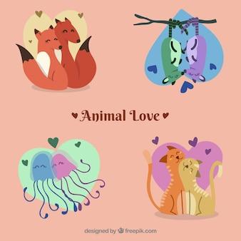 Lovely set von liebenden tieren