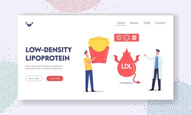 Low density lipoprotein landing page vorlage. doktorcharakter erklärt einem kleinen patienten die gefahr von schlechtem cholesterin mit einer riesigen fast-food-box. ldl devil fat drop. cartoon-menschen-vektor-illustration