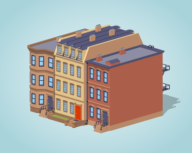 Low poly brownstone stadthaus