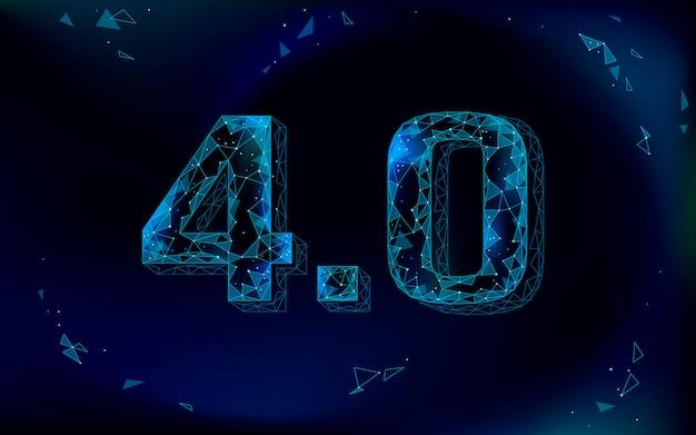 Low poly future industrial revolution konzept. industrie 4.0 ai künstlicher cyber autonomer prozess. management der online-technologiebranche. illustration des polygonalen 3d-innovationssystems
