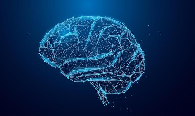 Low-poly-gehirn oder konzept der künstlichen intelligenz symbol des weisheitspunktes