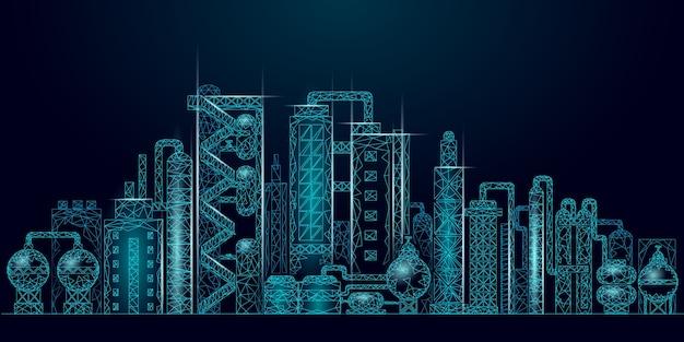 Low-poly-geschäftskonzept des erdölraffineriekomplexes. finanzwirtschaft polygonale petrochemische produktionsanlage. erdölindustrie nachgelagert. ökologielösung blau
