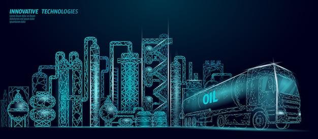 Low-poly-geschäftskonzept des erdölraffineriekomplexes. finanzwirtschaft polygonale petrochemische produktionsanlage. lkw der erdölkraftstoffindustrie. ökologielösung blau