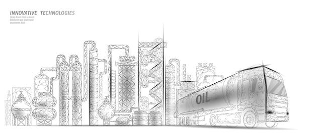 Low-poly-geschäftskonzept des erdölraffineriekomplexes. finanzwirtschaft polygonale petrochemische produktionsanlage. lkw der erdölkraftstoffindustrie. ökologielösung