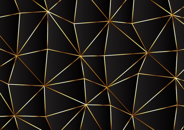 Low poly modernes design in gold und schwarz