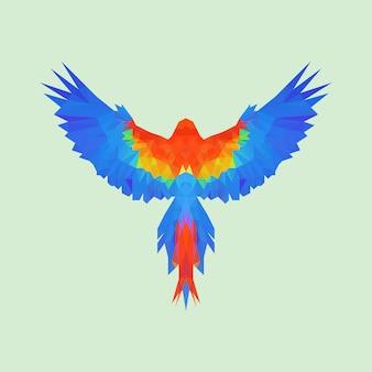 Low-poly-papagei, der vom illustrationsdesign der rückansicht fliegt