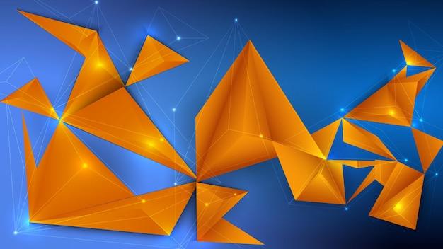 Low poly, polygonales 3d-design mit farbigen dreiecken.