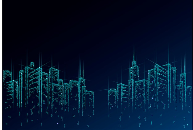 Low poly smart city 3d-drahtgeflecht. geschäftskonzept eines intelligenten gebäudeautomationssystems. hoher wolkenkratzer-grenzmusterhintergrund. architektur stadtstadtbild technologie illustration
