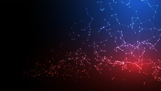 Low poly technology mesh mit netzwerkverbindung