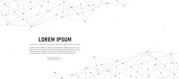 Low-poly-vektor-banner-design für globale verbindung mit linie und punkten abstrakter geometrischer digitaler hintergrund