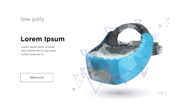 Low-poly-virtual-reality-helm landingpage-vorlage
