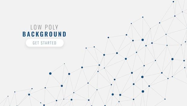 Low-poly-weißer netzwerkverbindungshintergrund