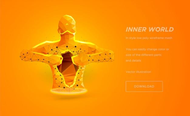 Low-poly-wireframe-kunst des menschlichen torsos