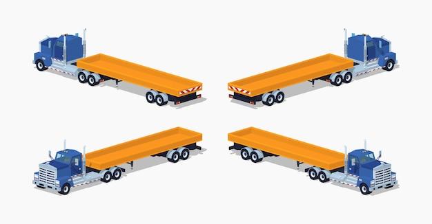 Lowpoly isometrischer 3d-schwerlastwagen
